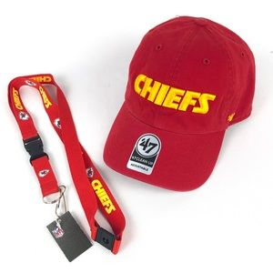 Kansas City Chiefs 47 Brand Clean Up Hat & Lanyard
